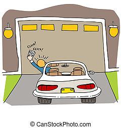 cassé, porte, garage