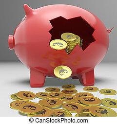 cassé, projection, piggybank, économies, européen