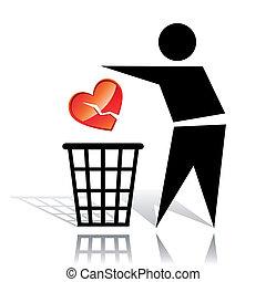cassé, recyclage, signe, coeur