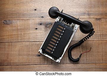 cassé, retro, téléphone