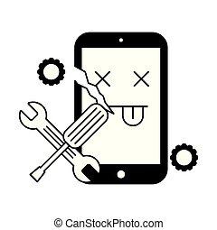 cassé, soutien, cellphone, outils, erreur