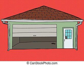 cassé, sur, porte, rouges, garage
