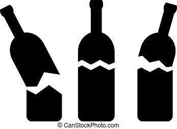 cassé, vecteur, bouteille, icône