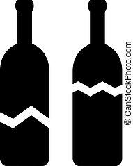 cassé, vecteur, bouteille verre, icône