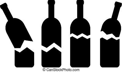 cassé, vecteur, bouteilles, verre, icône