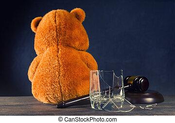 cassé, verre., marteau, concept, juge, dû, ou, alcoholism., droits, teddy, privation, ours, divorce, parental