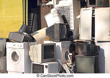 cassé, vieux, décharge, appareils