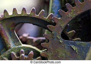 cassé, vieux, mécanisme, décharge