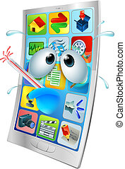 cassé, virus, dessin animé, téléphone