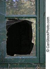 cassé, vitre