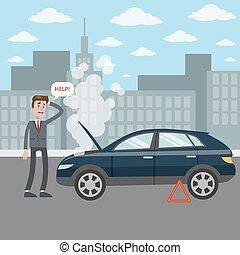 cassé, voiture., homme