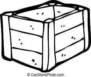 cassa legno, cartone animato