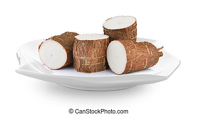 Cassava in plate on white background