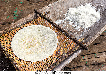 Cooked Cassava Pie And Grinded Root Indigenous Cooking Style