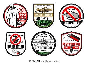 casse-pieds, icônes, insectes, deratization, contrôle
