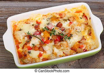 Casserole. - Casserole with bacon, cheese, pumpkin and ...