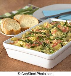 casserole, de, verde, espargos, presunto, e, macarrão, com,...