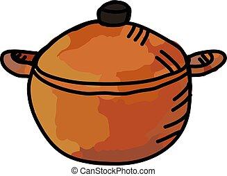 Casserole dish, illustration, vector on white background.
