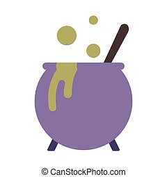 Casserole Flat illustration - Green posion casserole icon in...