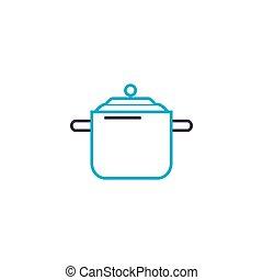 Casserole for soup linear icon concept. Casserole for soup...