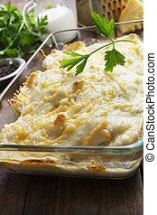 Casserole with fish and potatoes