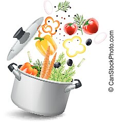 Casserole With Vegetables Illustration - Casserole pot with...