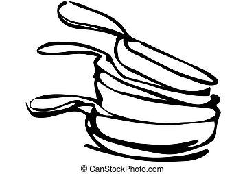 casseroles, croquis, vecteur, tas, unwashed