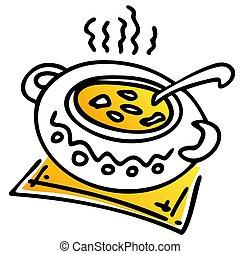 casseruola, con, minestra