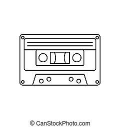 cassete áudio, ícone, esboço, estilo