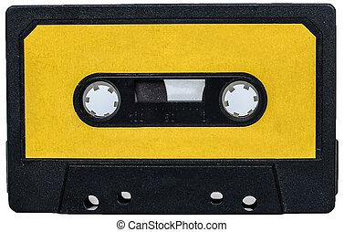 cassete, 型, 隔離された, 黄色, テープ, レトロ, 白