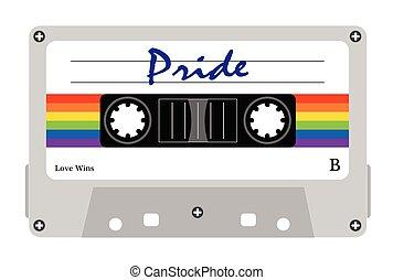 cassete, alegre, fita, desfile, orgullo alegre, cassette, fita-k7, lgbt, lgbt