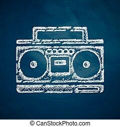 cassete, registrador, ícone