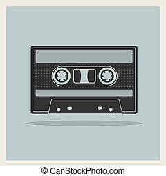 cassetta compatta, retro, fondo, nastro, audio