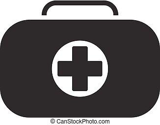 Aiuto Simbolo Primo Kit Medico Appartamento Isolated Simbolo