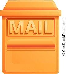 cassetta postale, stile, cartone animato, icona, oro
