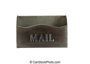 cassetta postale vuota, metallo, vecchio, isolato, bianco