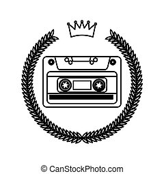 cassetta, stile, ghirlanda, hipster, cornice