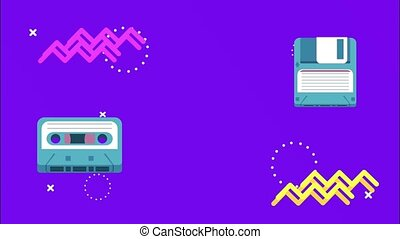 cassette and floppy disk in memphis retro style background ,4k video animated