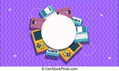 cassette and floppy with video games in memphis retro style background ,4k video animated