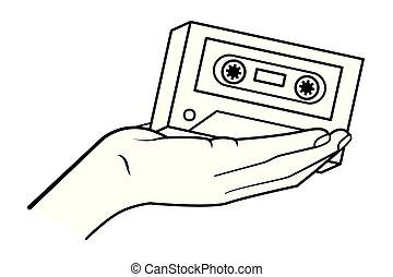 cassette, blanc, noir, tenant main