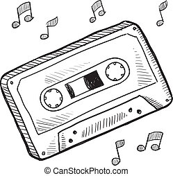 cassette, bosquejo, cinta
