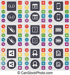 Cassette, Calendar, Smartphone, Microphone connector, Arrow right, Battery, Share, Medal, Media file icon symbol. A large set of flat, colored buttons for your design. Vector