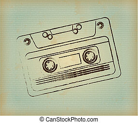 cassette design over lineal background. vector illustration