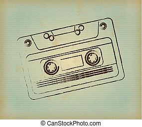 cassette design over lineal background. vector illustration