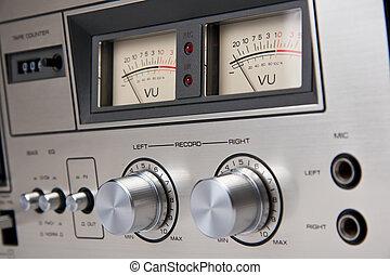 cassette, estéreo, cubierta de cinta, vendimia, análogo, controles