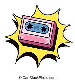 cassette explosion pop art background