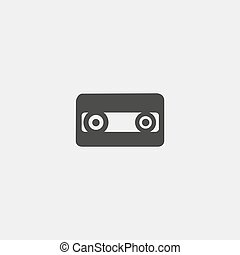 Cassette icon in a flat design in black color. Vector illustration eps10