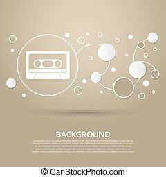 Cassette icon on a brown background with elegant style and modern design infographic. Vector