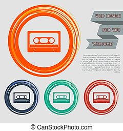 Cassette icon on the red, blue, green, orange buttons for your website and design with space text. Vector