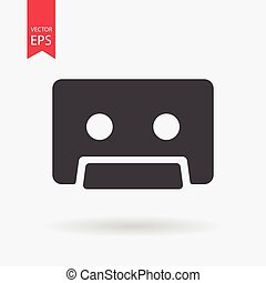 Cassette Icon Vector. Flat design. Cassette sign isolated on white background.
